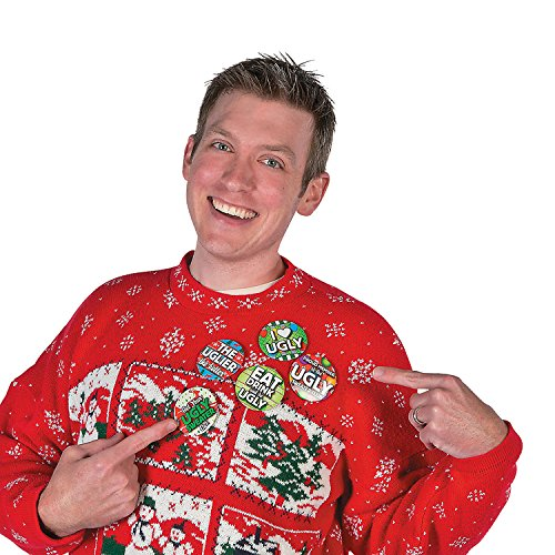 Christmas Party Ugly Sweater Contest Award Buttons Gag