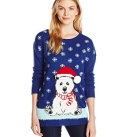 Polar Bear in Santa Hat Pullover Ugly Christmas Sweater