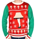 Men's Leg Lamp Sweater in Red and Green with Tassels