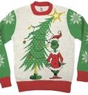 Grinch As Santa Next To Tree Sweater