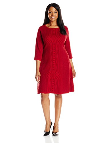 Plus Size 34 Sleeve Fit And Flare Textured Red Sweater Dress Best