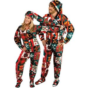 ugly christmas onesie for adults with long night cap