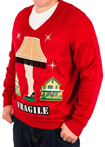 mens a christmas story fragile leg lamp ugly christmas sweater