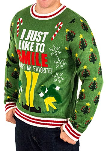 Elf Smiling's My Favorite Ugly Christmas Sweater | Ugly-Sweaters.com
