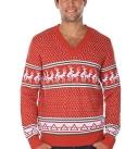 Dirty Reindeer Conga Line V-Neck Ugly Christmas Sweater