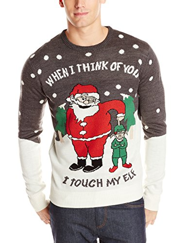 when i think of you i touch my elf ugly christmas sweater - Cheap Mens Ugly Christmas Sweater