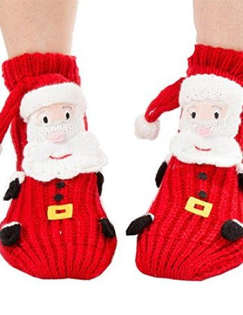 santa reindeer cartoon non slip socks for women - Funny Christmas Socks