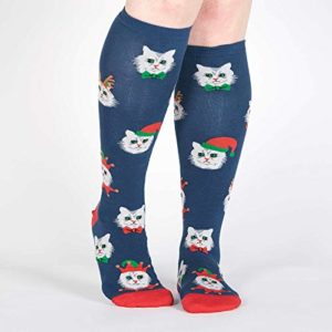 santa claws cat christmas socks